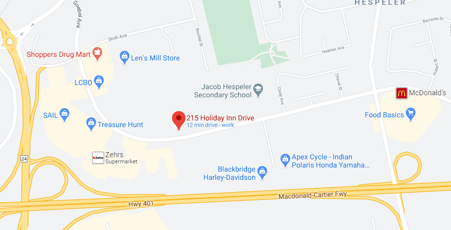google map of 215 Holiday Inn Drive