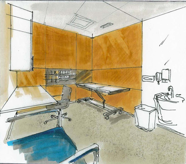 Architect's sketch of Exam Room