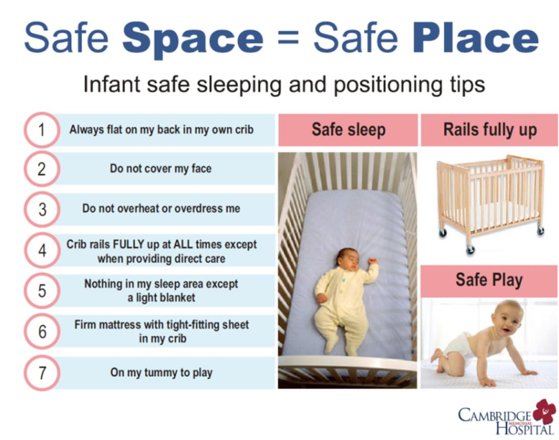 Safe Space Safe Place Infographic. Infant safe sleeping and positioning tips. 1. Always flat on my back in my own crib. 2. Do not cover my face. 3. Do not overheat or overdress me. 4. Crib rails fully up at all times except when providing direct care. 5. Nothing in my sleep area except a lightblanket. 6. Firm mattress with tight-fitting sheet in my crib. 7. On my tummer to play.
