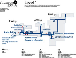 Map of the hospital first floor